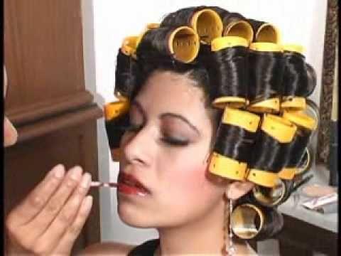 How hair roller bondage woman