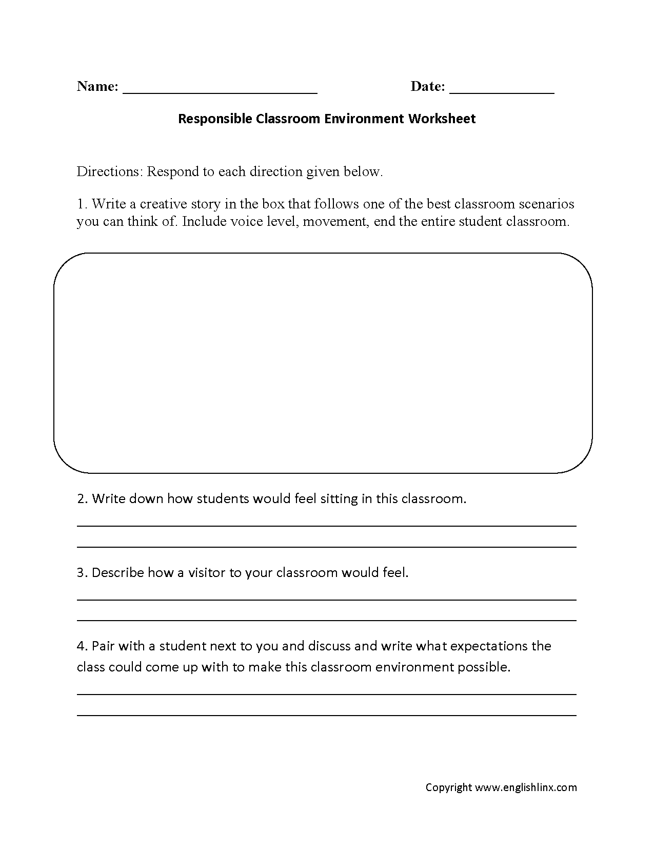 Responsible Class Environment Back To School Worksheets
