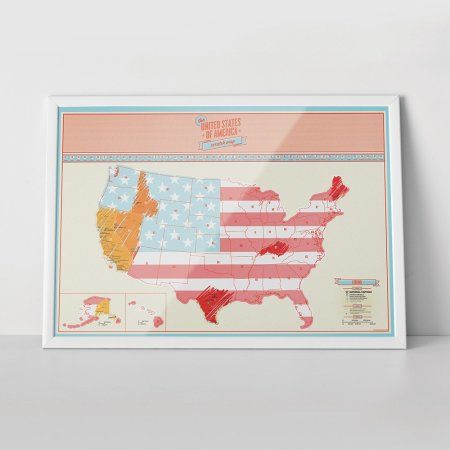 Free Shipping Buy Travel Scratch USA Map Track Places Where You - Us map poster walmart