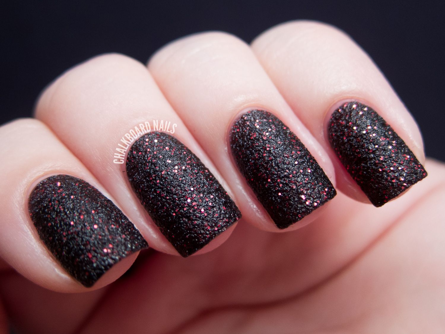 General Black Gothic Nail Design Ideas With Slightly Red Color