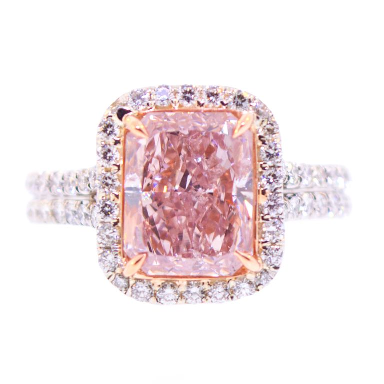 3 Carat Natural Pink Diamond Ring Platinum and 18K Pink Gold Ring