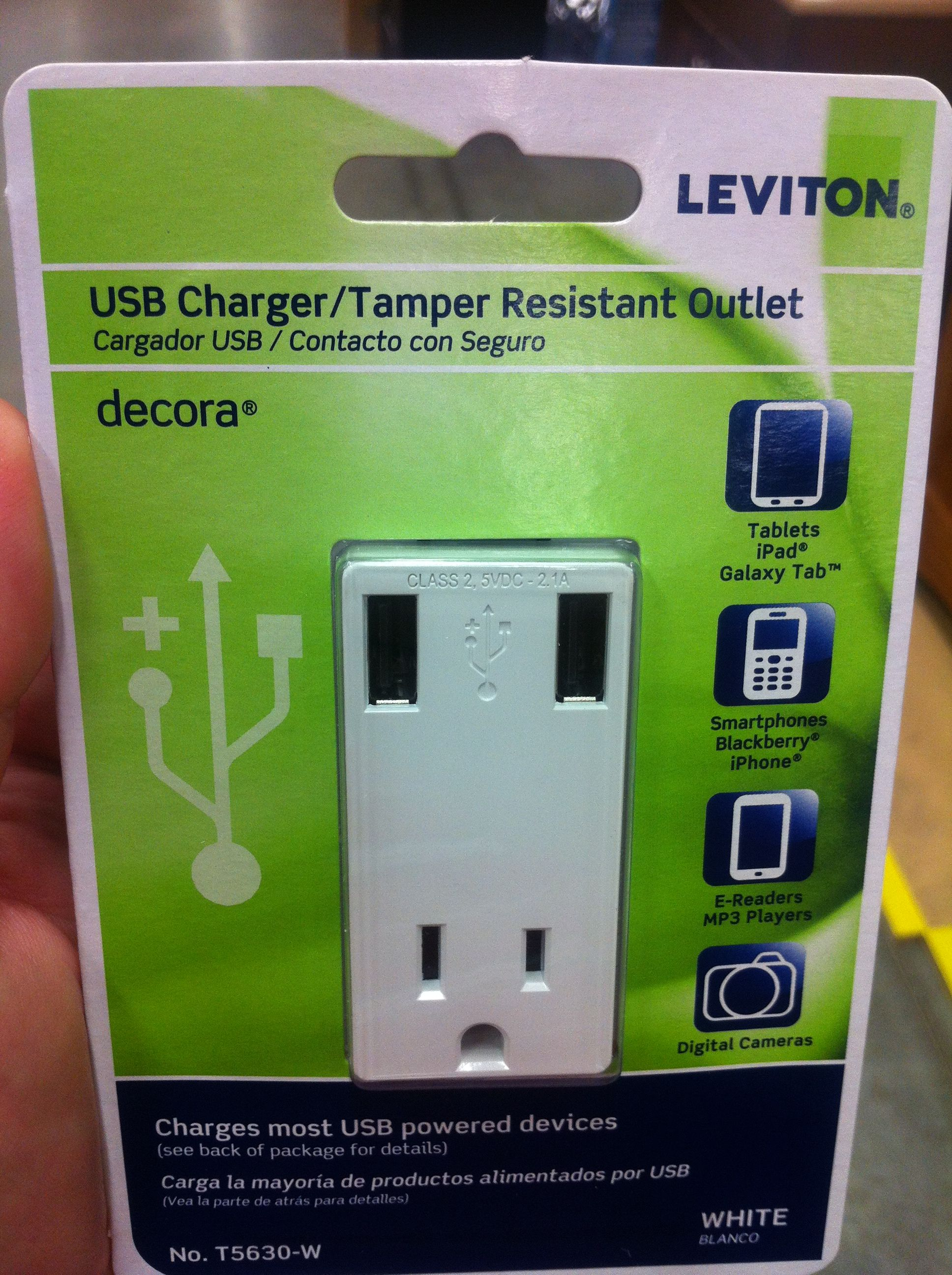 Usb Charger Tamper Resistant Outlet For Decora Style Receptacle Wiring Conduit Home Depot Made By Leviton No T5630 W 21a 15a 125v Combo Can Charge Two Devices Simultaneously Picked It Up At