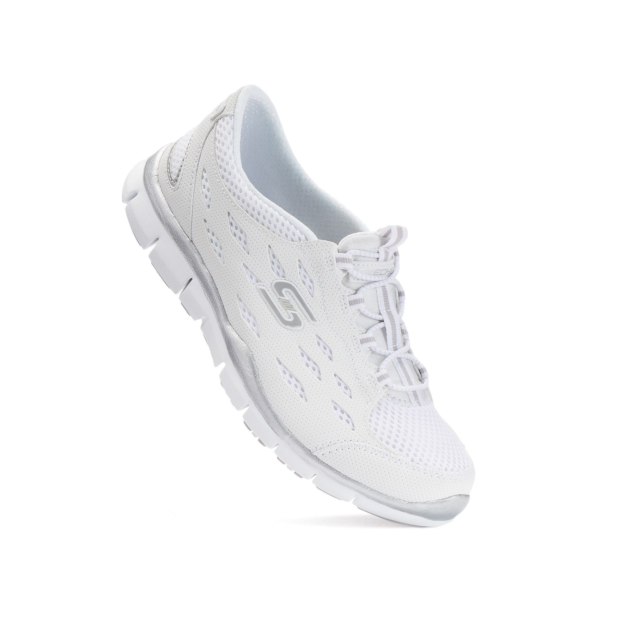 white skechers slip on shoes
