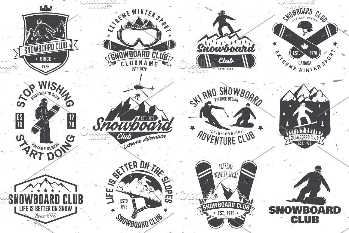 Set Of Snowboard Club Badges Vintage Typography Design Snowboard Design Snowboard