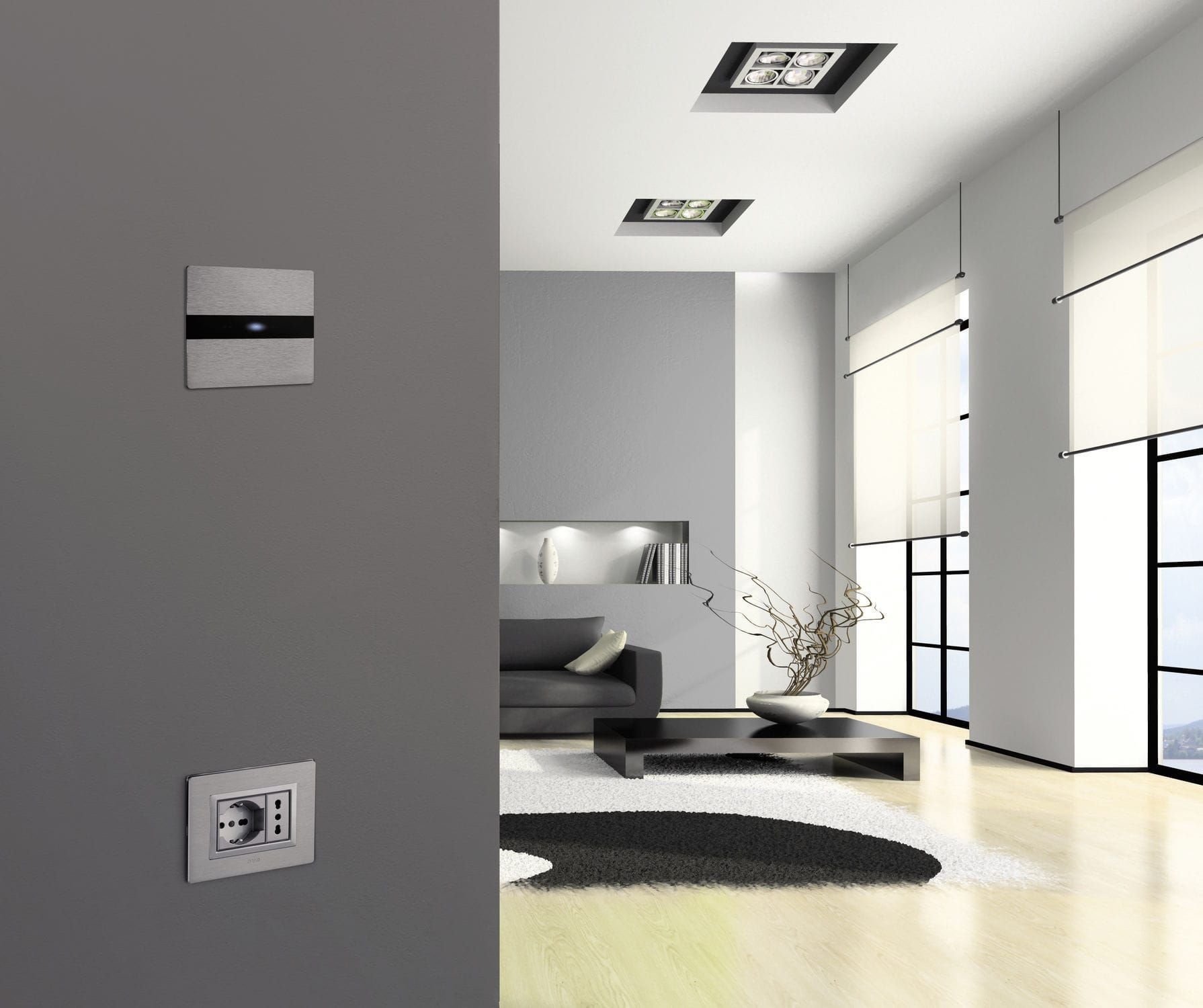 Home Automation System Switch Touch Aluminum Contemporary  Allumia Touch
