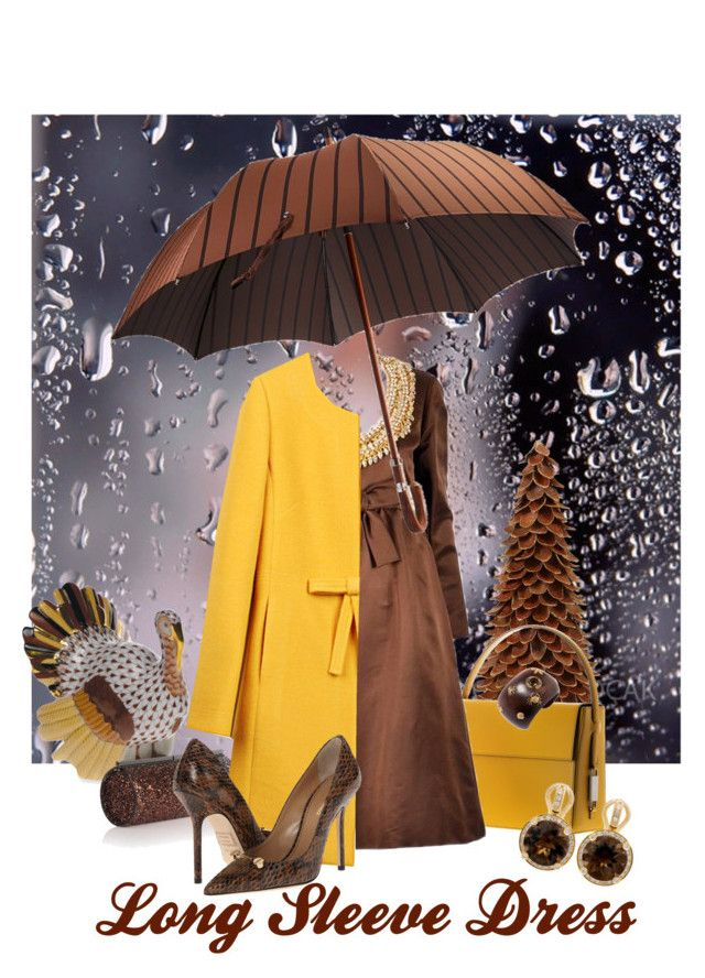 """1960s Sarmi Chocolate Satin Dress.."" by kapua-blume ❤ liked on Polyvore featuring Herend, Lautēm, Sarmi, Jimmy Choo, Dsquared2, Poiray Paris and longsleeve"