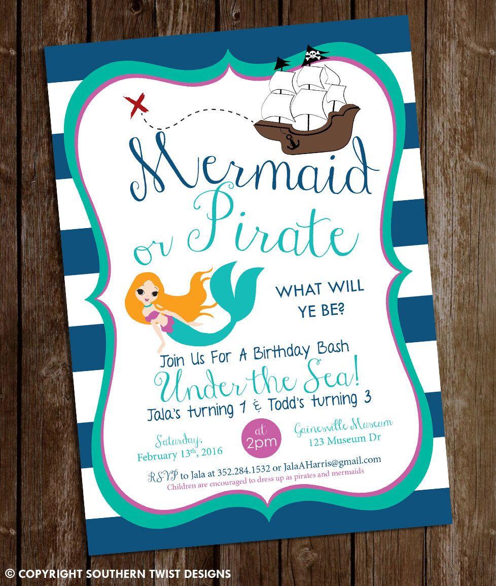 mermaid pirate birthday invitation