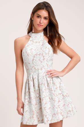 e38eb11e8c4 Cute White Dress - Lace Dress - Halter Skater Dress - LWD