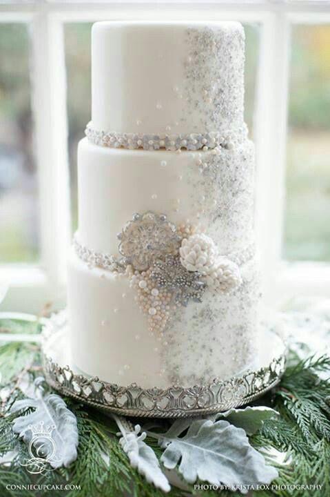 3tiered White/Silver/RoseGold Wedding Cake