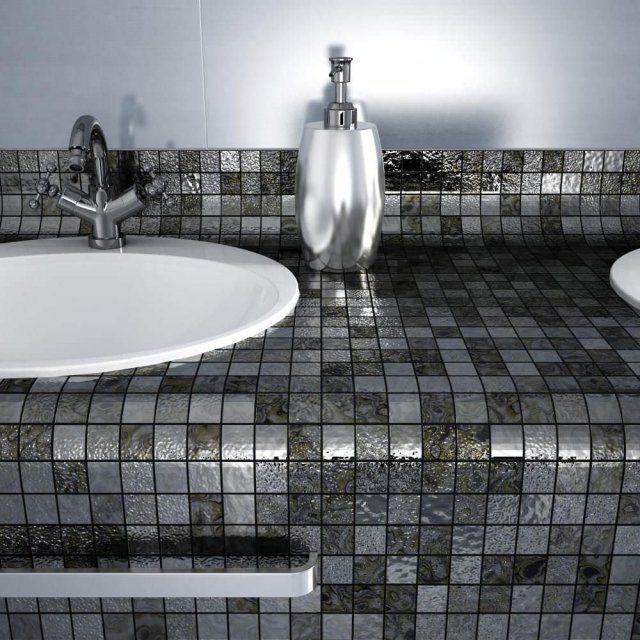 BadezimmerMosaikfliesen Mit Glänzendem Metalliceffekt - Mosaik fliesen metallic