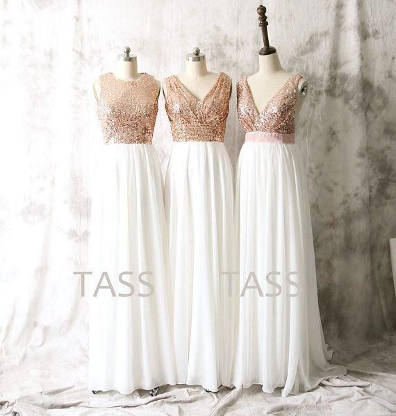 Sequin Chiffon Bridesmaid Dresses Rose Gold Sequin von TaShasha ...