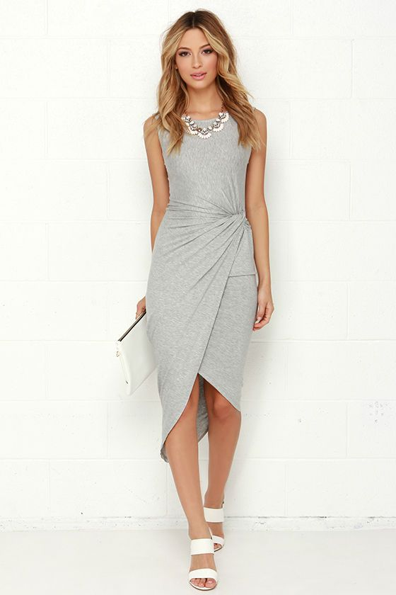 Knotty or Nice High-Low Heather Grey Wrap Dress at Lulus.com! 0a6ed8545
