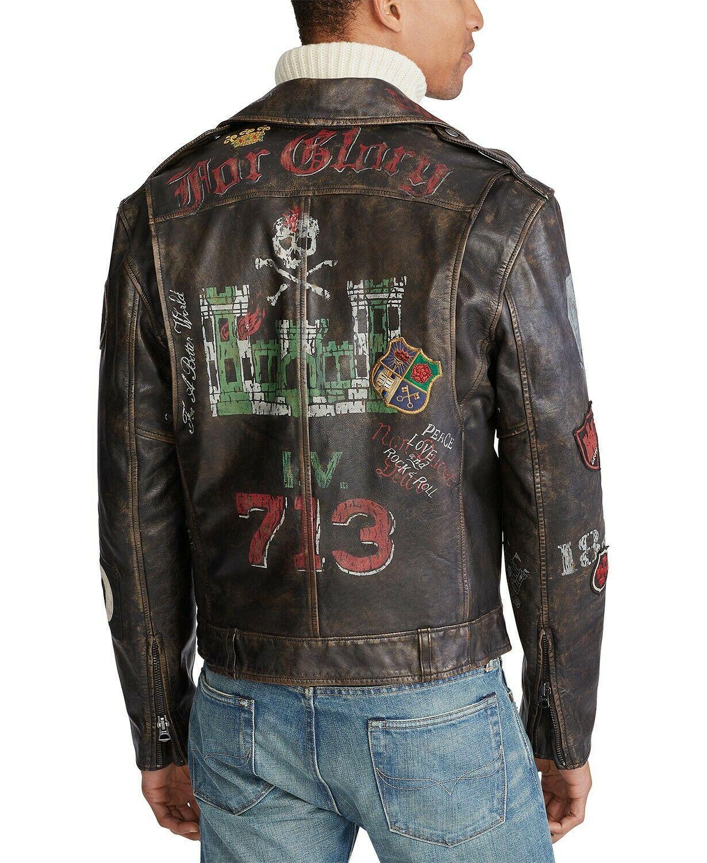 Polo Ralph Lauren Leather Artwork Moto Biker Rider Jacket Skull Royal King Uk Xl Ebay Ralph Lauren Leather Jacket Ralph Lauren Leather Leather Jacket [ 1500 x 1230 Pixel ]