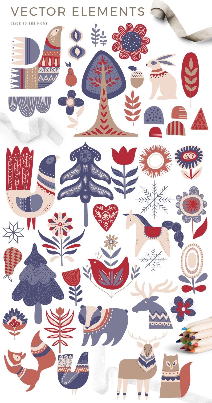 Scandinavian Winter Bundle 80 Vector And Raster Elements 15 Master Bundles Christmas Illustration Christmas Art Scandinavian Folk Art