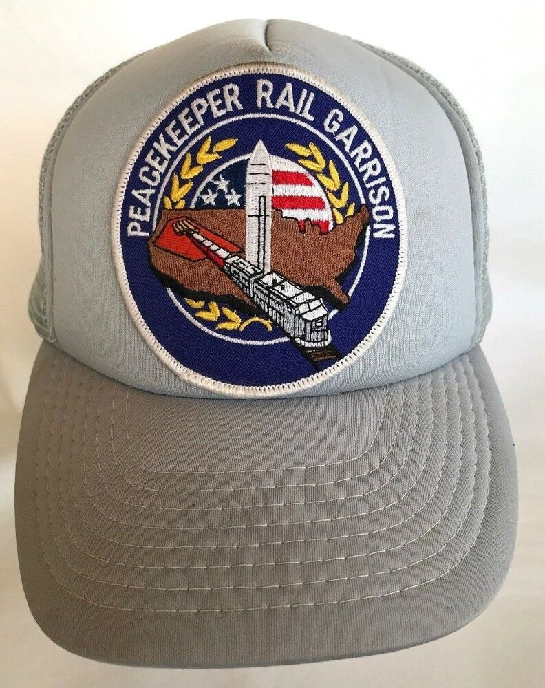 4ccbe5ce6 Vtg Peacekeeper Rail Garrison Patch Mesh Snapback Cap Hat NASA ...