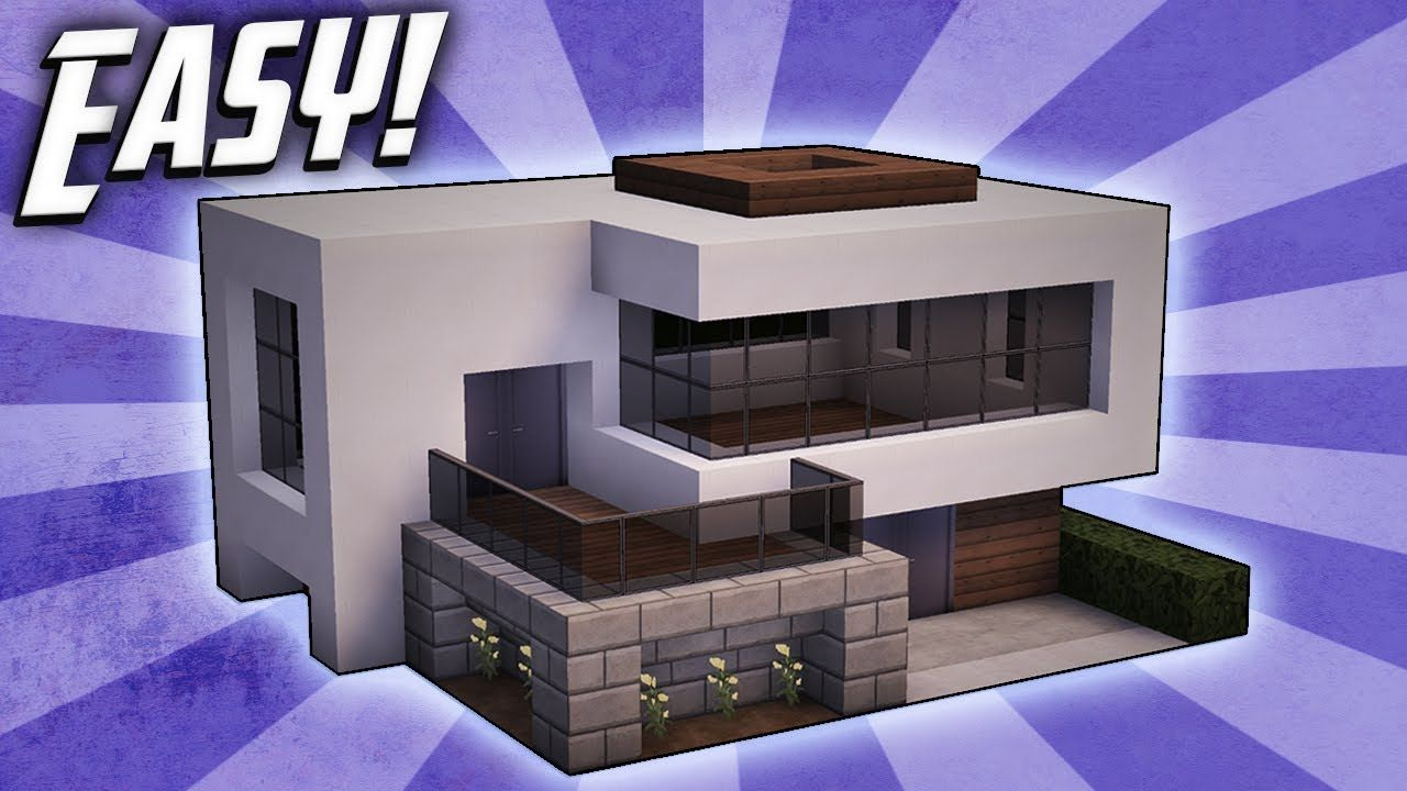 Minecraft How To Build A Small Modern House Tutorial 16 Youtube Small Modern Home Minecraft Modern Easy Minecraft Houses