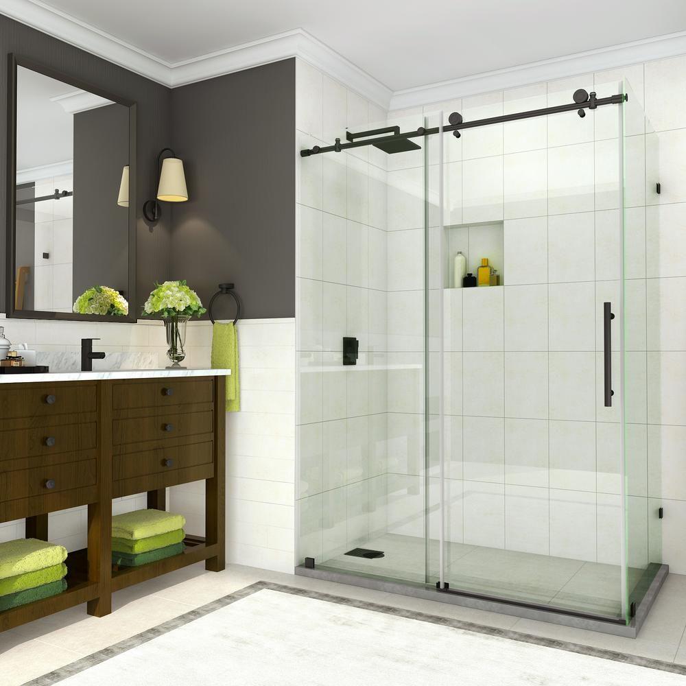 Aston Coraline 56 In To 60 In X 33 875 In X 76 In Frameless Sliding Shower Door In Matte Black Shower Doors Frameless Shower Enclosures Frameless Sliding Shower Doors