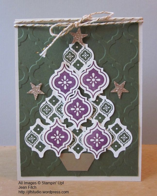 Christmas in July...Christmas Challenge Card - SCCC #32 - Jean Fitch CASE of Mosaic Madness Christmas trees from around the web.  See post for details and tips.