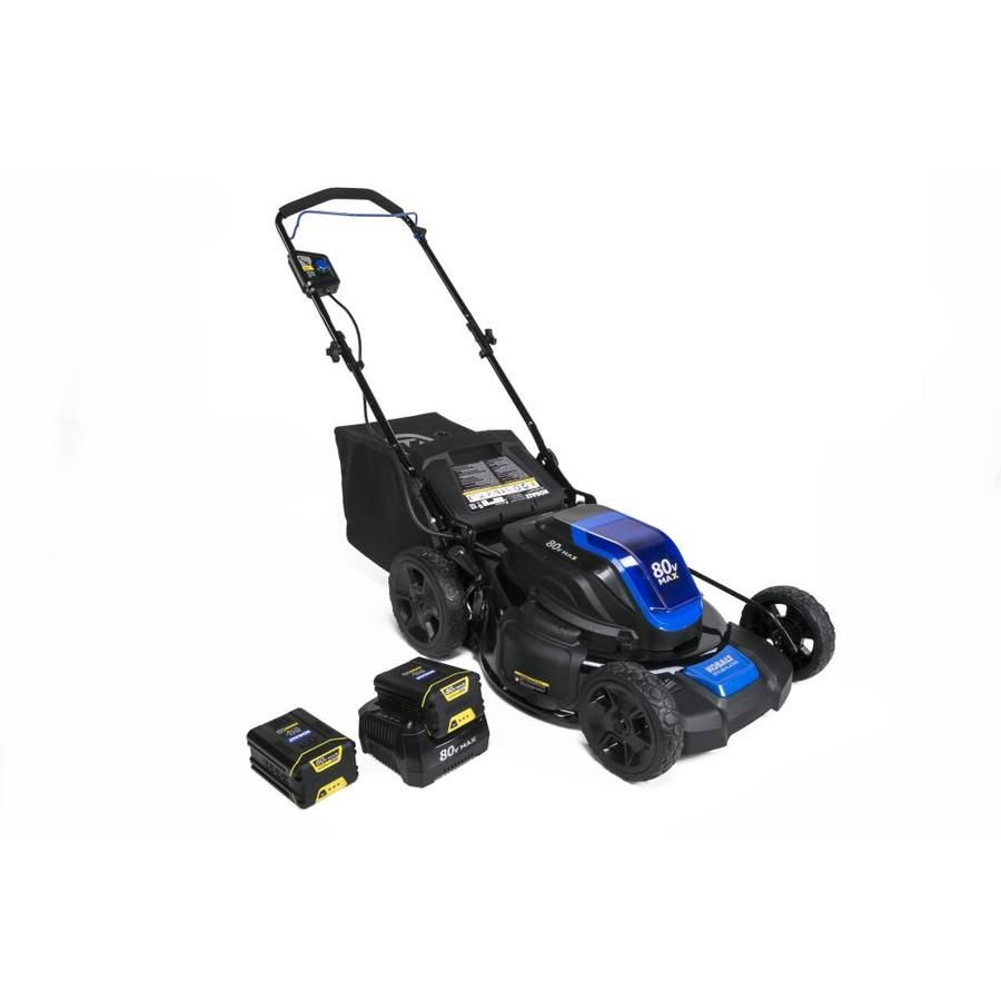 Kobalt 80 Volt Max Brushless Lithium Ion 21 In Deck Width Cordless Electric Lawn Mower With Mulching Ca Lawn Mower Battery Push Lawn Mower Lawn Mower