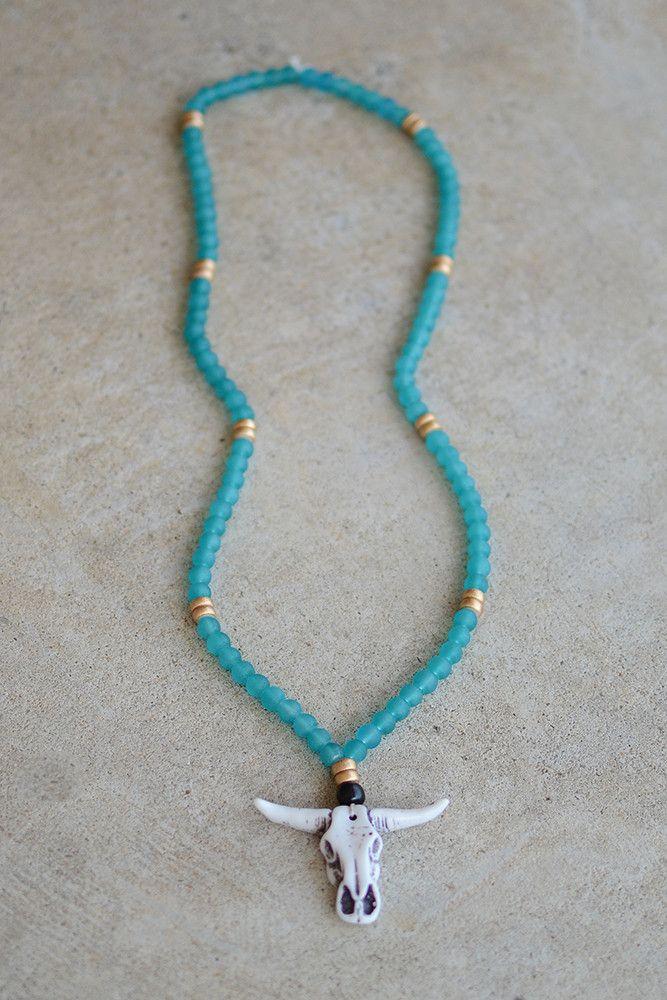 Tombstone Necklace- Aqua