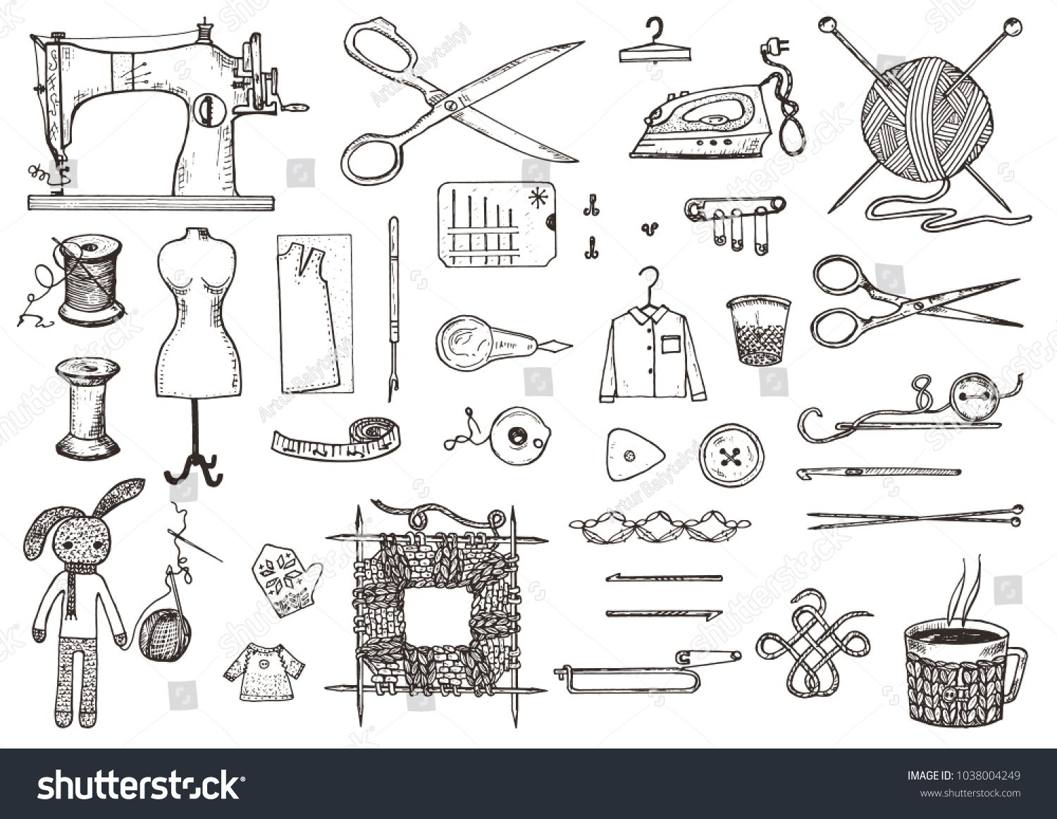 Stock Vector Set Of Sewing Tools And Materials Or Tools