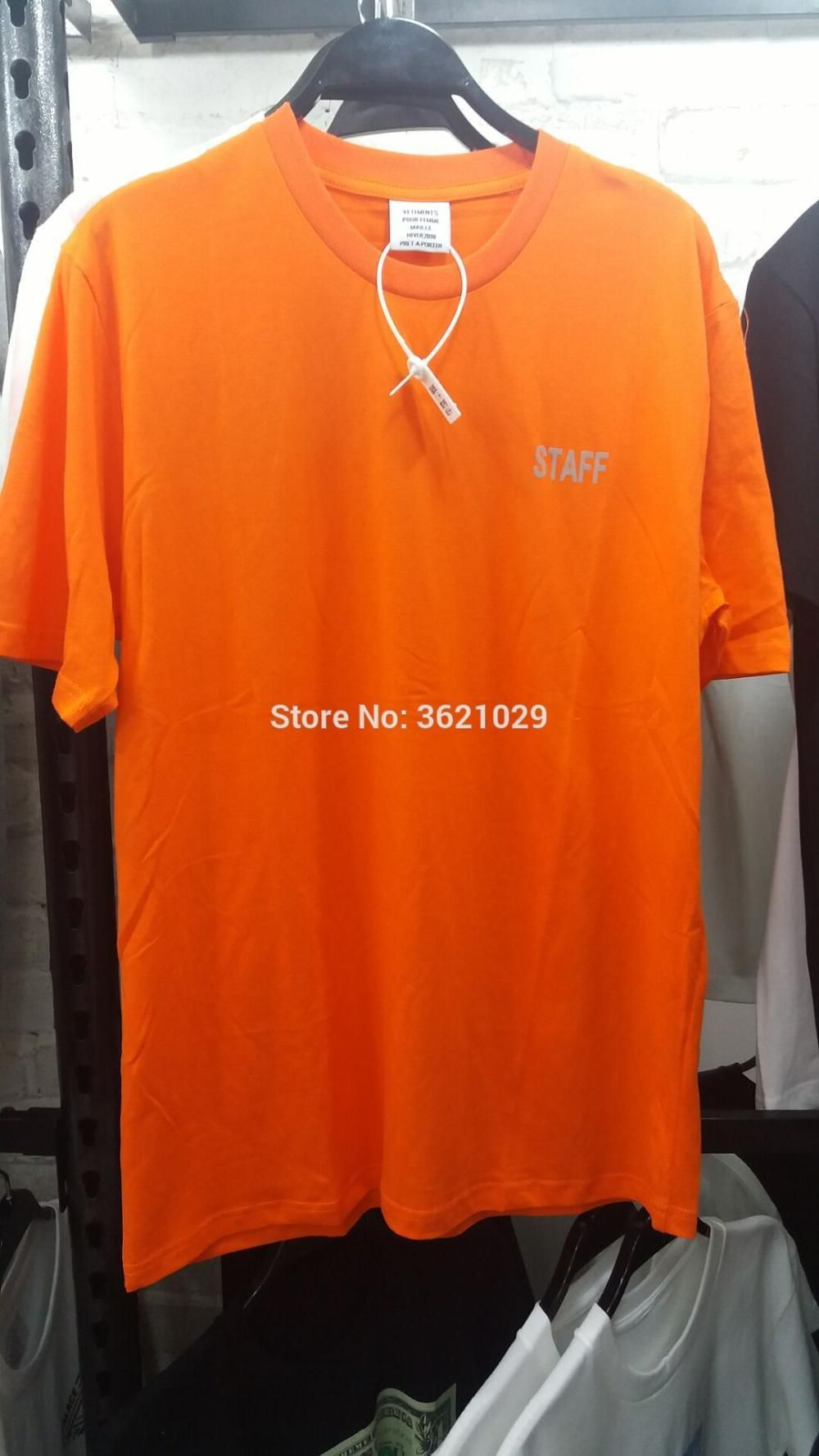 c056baf8d324 2018 F/W Summer STAFF VETEMENTS Orange reflective Letter Embroidery men  short sleeve t shirt