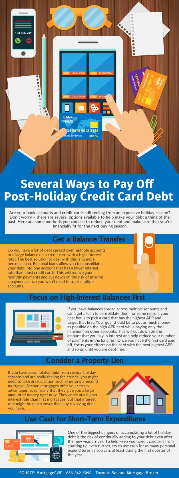 Several Ways To Pay Off Post Holiday Credit Card Debt Canada Wide Financial Credit Card Transfer Credit Card Infographic Credit Cards Debt