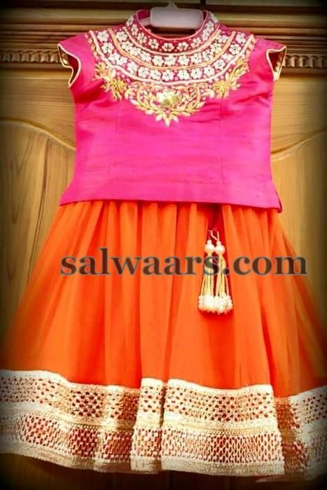 d34a4b8a High Neck Blouse in Fuchsia Pink | Baby girl in Pattu langa | Kids ...