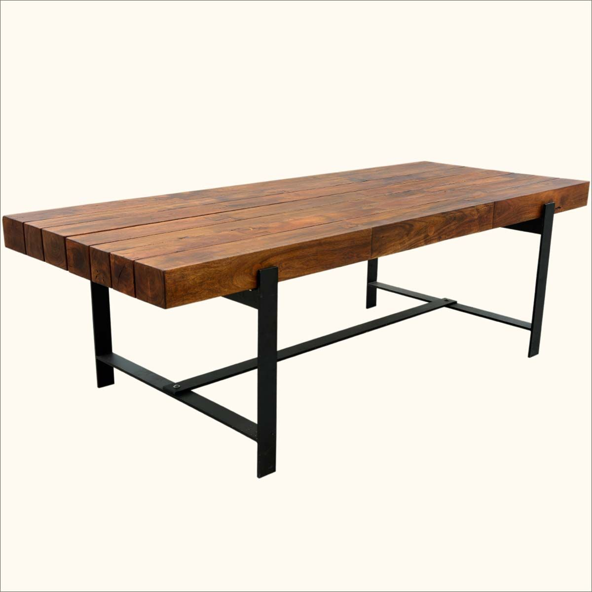 Unique Industrial Iron Acacia Wood 94 Large Diningtable Made