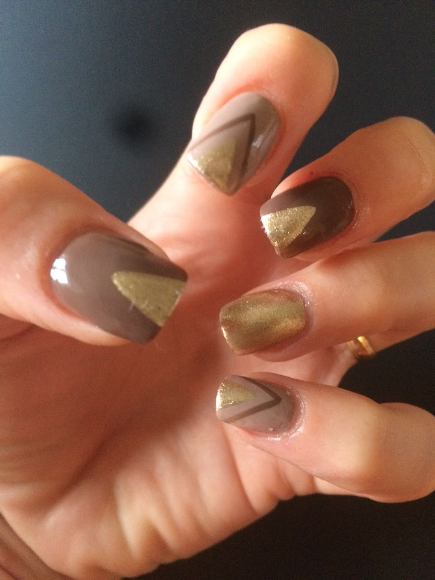 Autumn Nails Brown And Gold Triangles Nail Art Nail Design
