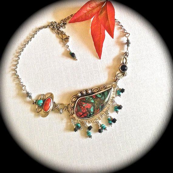 Artisan Sonoran Sunrise multi pendant fine silver necklace by Julie Crawford
