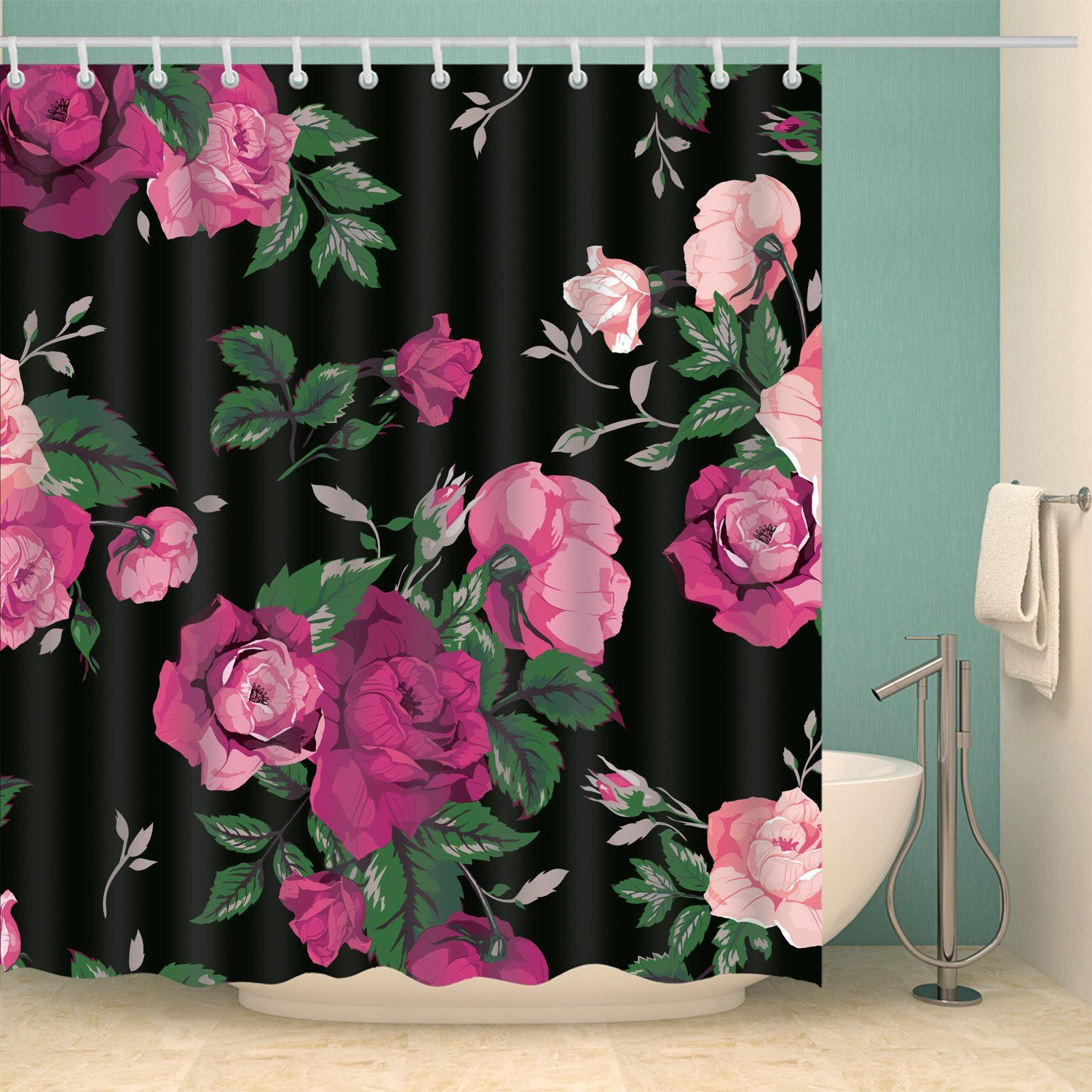 Black Backdrop Pink Rose Floral Shower Curtain Bathroom ...