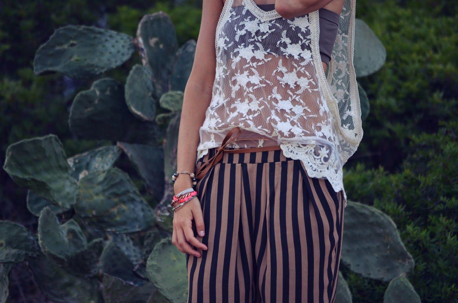 lace, stripes
