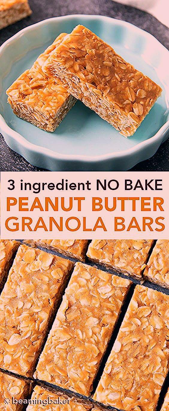 3 Ingredient No Bake Peanut Butter Granola Bars