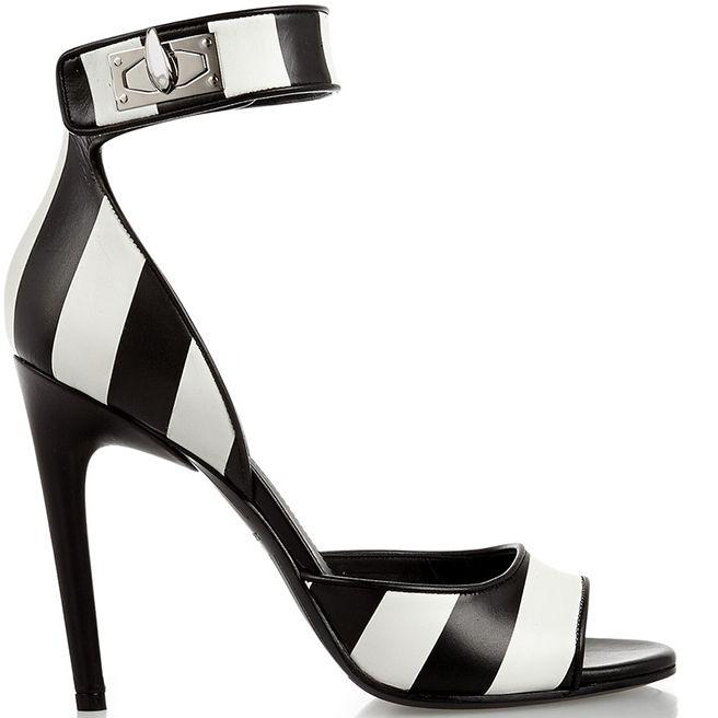 Givenchy Black and White Striped Shark Lock Sandals - Buy Online - Designer Ankle Wrap, Sandals
