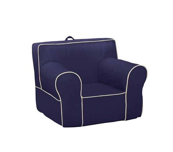 Pbk Navy With Stone Piping Oversized Anywhere Chair