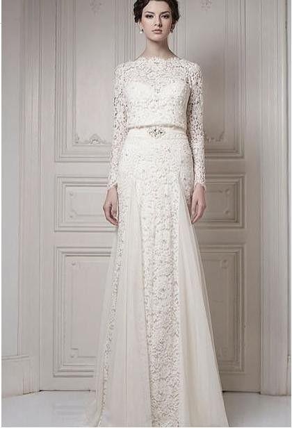Ersa soft silvia wedding dress lace long sleeves white ivory ...