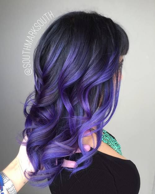 40 Fairy Like Blue Ombre Hairstyles Purple Hair Highlights Purple Balayage Hair Highlights
