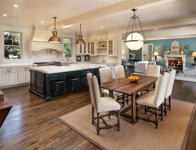 appealing living room dining kitchen combo | East Coast-style Shingle Home for Sale | Living room ...