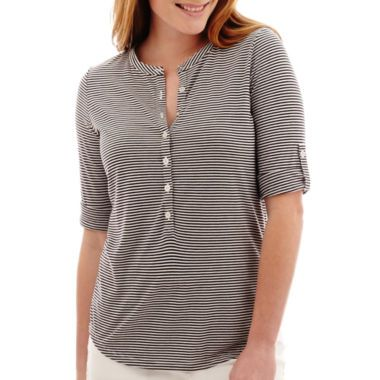 ae5171ab Roll-up sleeves add a versatile look to our henley shirt featuring a button-front  design.