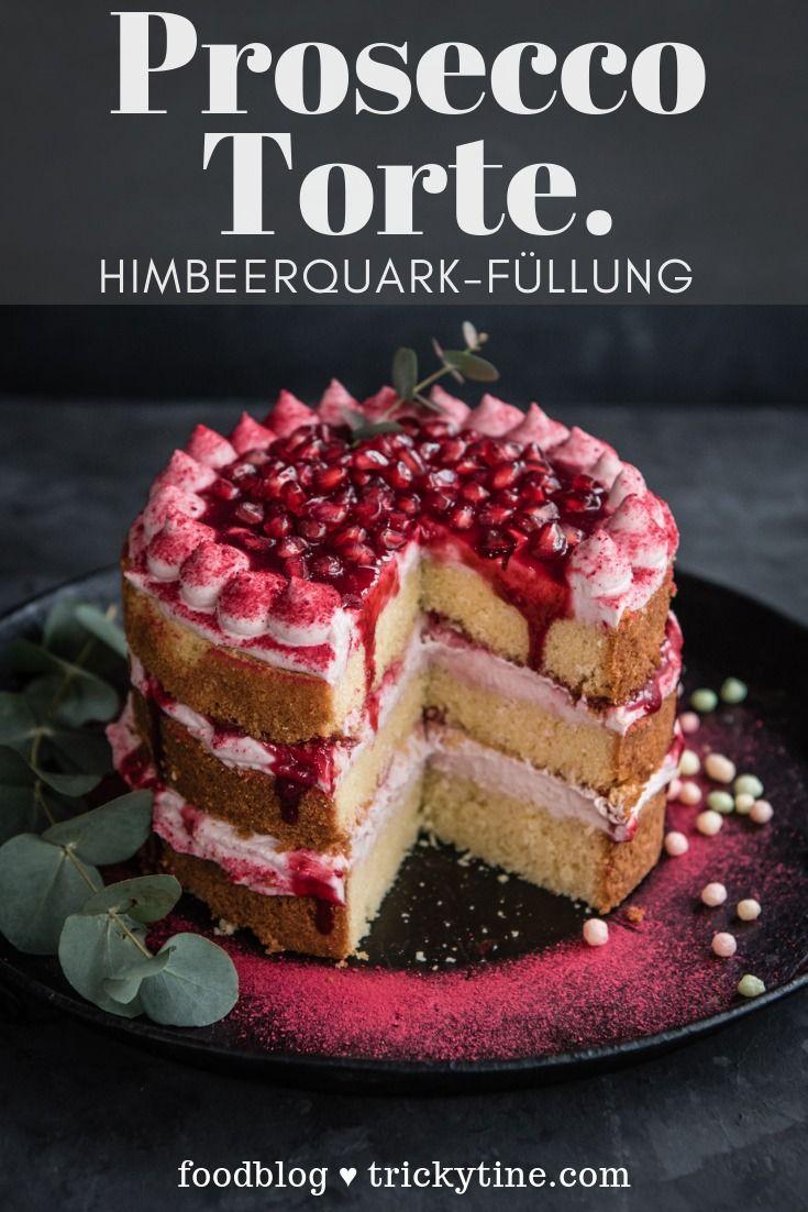 Prosecco Torte mit Himbeer-Quark-Füllung by trickytine ♥ #kuchenundtorten