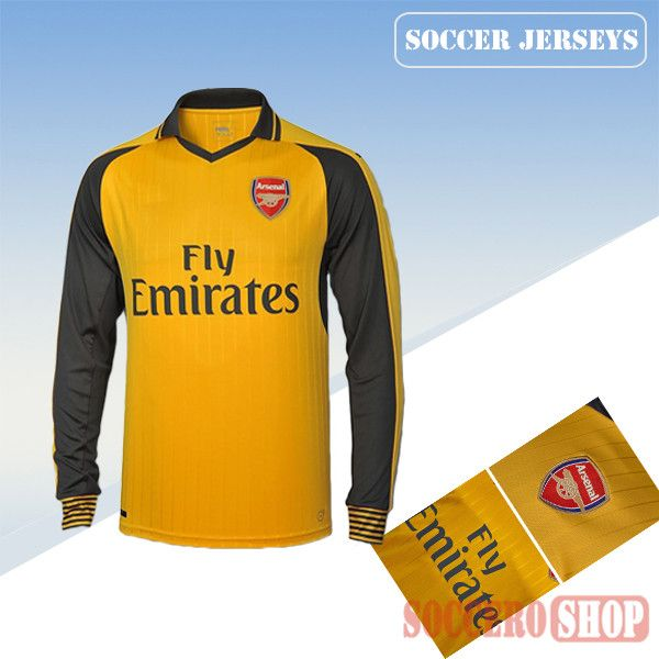 new style 2ada1 3cc3a Latest Arsenal Yellow/Grey 2016 2017 Away Long Sleeve Soccer ...
