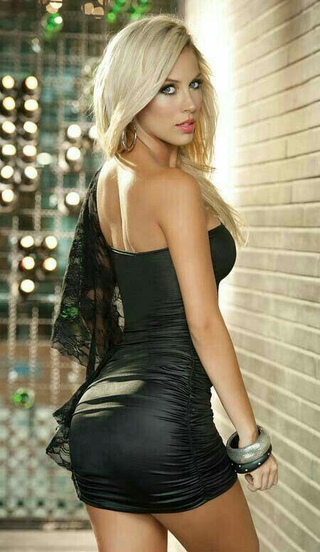 Lina Model Sexy Tight Black Dress Colombian Women