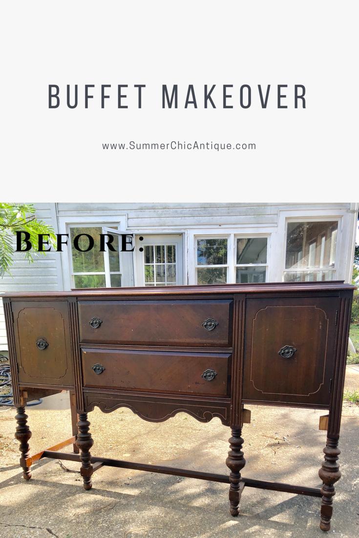 Buffet Makeover | Refurbished furniture, Antique buffet ...