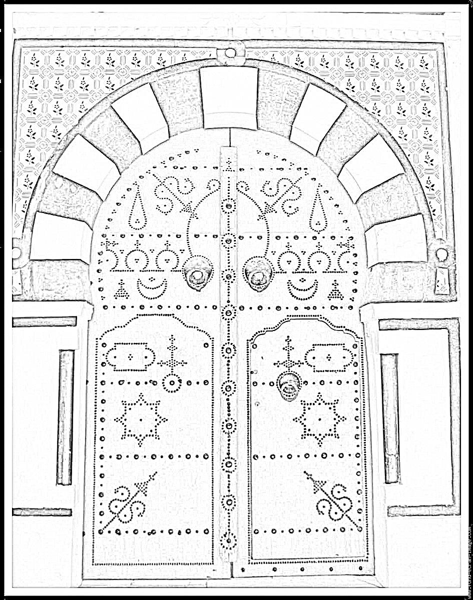 Imprimer coloriage porte tunisienne2 projet portes doorway doors exterior - Dessin art plastique a imprimer ...