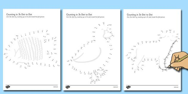 Counting In 3s Dot To Dot Worksheets Animal Themed