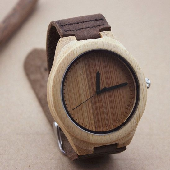 a6d48866d7f8d Unique Personalized Minimalist Engraved Bamboo Wooden Watch ...