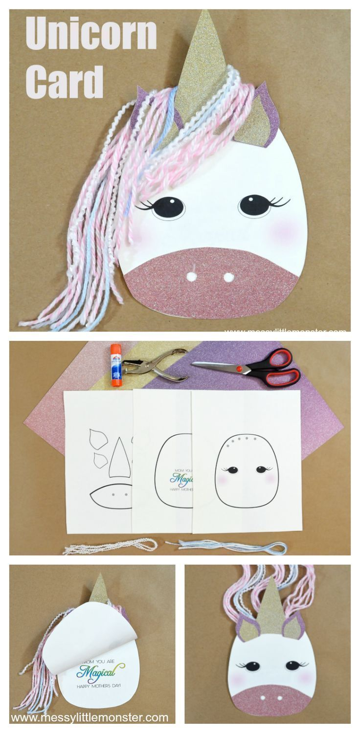 Unicorn Card Craft - Unicorn card, Unicorn crafts, Toddler crafts, Crafts for girls, Fun crafts, Craft activities for kids - Unicorn crafts for kids are the best! Here is an easy diy unicorn mothers day card for kids to make using our free printbale unicorn template