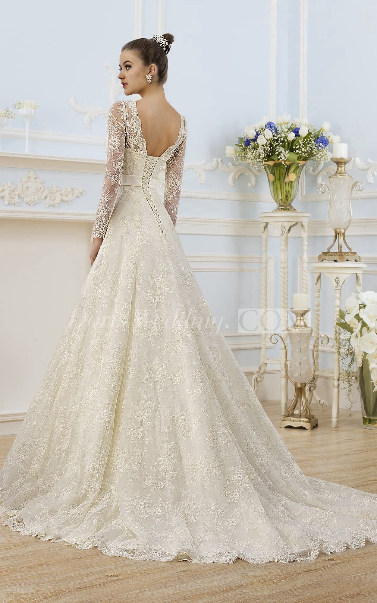 A Line Floor Length V Neck Illusion Sleeve Corset Back Lace Dress With Appliques And Bow Corset Back Wedding Dress Wedding Dresses Corset Wedding Dresses