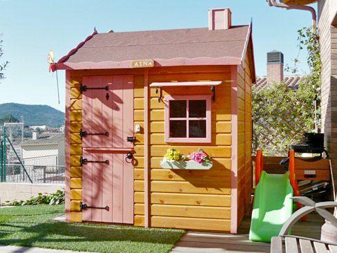 Casita infantil de madera color miel modelo caba a - Casitas pequenas de madera ...
